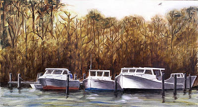 Art Print featuring the painting Fine Art Traditional Oil Painting 3 Workboats Chesapeake Bay by G Linsenmayer
