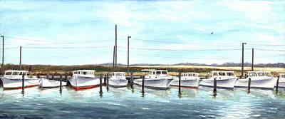 Art Print featuring the painting Fine Art Workboats Kent Island Chesapeak Maryland Original Oil Painting by G Linsenmayer