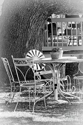Photograph - Fine Dining Country Style Bw by Ella Kaye Dickey