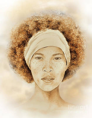 Drawing - Fine Foxy Fashionable Freckled Faced Female With A Fro  by Jim Fitzpatrick