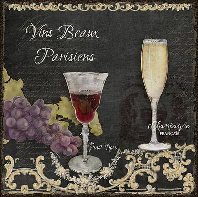 Cut Glass Painting - Fine French Wines - Vins Beaux Parisiens by Audrey Jeanne Roberts