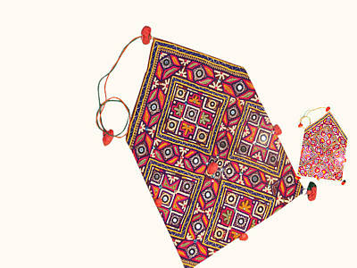 Old Money Bag From Sindhi Embroidery Of Sindh Region Of Pakistan Tapestry - Textile - Fine Mirror Work by Santosh Rathi