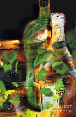 Champagne Painting - Fine Wine by Bob Salo