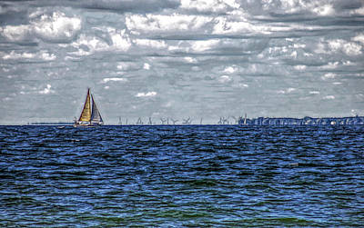 Sea Photograph - Fine Wine Cafe Sailing The Blue by Aimee L Maher Photography and Art Visit ALMGallerydotcom