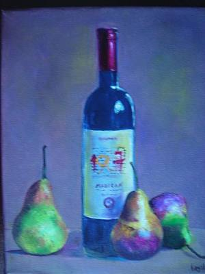 Fine Wine Paintings - A French Wine With Pears Art Print by Virgilla Lammons