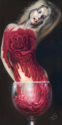 Wine Reflection Art Painting - Fine Wine by Wayne Pruse