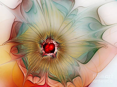 Lucid Digital Art - Finely Spruced Flower by Karin Kuhlmann