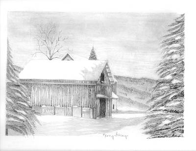 Old Barn Drawing Drawing - Finger Lake Barn by Kerry Facey