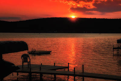 Finger Lakes New York Sunset By The Dock 02 Art Print by Thomas Woolworth
