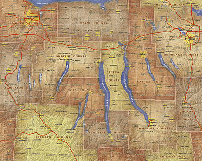 Finger Lakes Digital Art - Finger Lakes Of New York Watercolor Map by Paul Hein