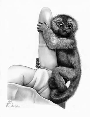 Drawing - Finger Monkey by Murphy Elliott