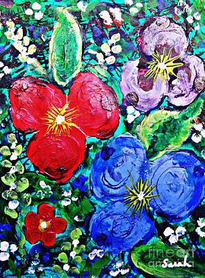 Painting - Finger Painted Flowers by Sarah Loft