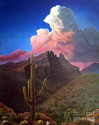 Desert Sunset Painting - Finger Rock Sunset by Jerry Bokowski