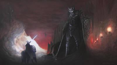Silmarillion Digital Art - Fingolfins Final Fight by Rick Ritchie