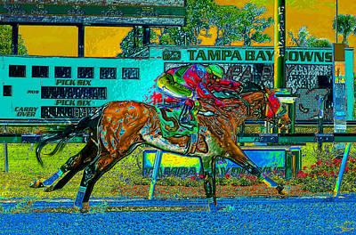 Jockey Painting - Finish Line by David Lee Thompson