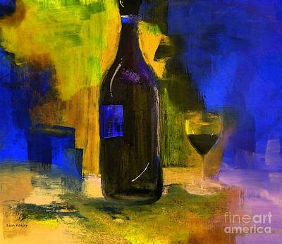 Wine-glass Painting - One Last Glass Before Bed by Lisa Kaiser