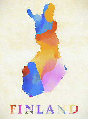 Painting - Finland Watercolor Map by Dan Sproul