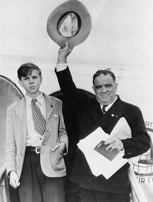 Father And Son Photograph - Fiorello Laguardia And His Son, Eric by Everett