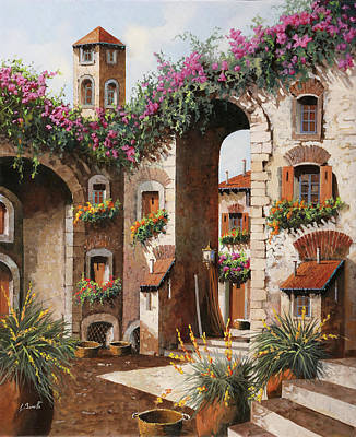 Painting Rights Managed Images - Fiori Gialli Sotto Larco Royalty-Free Image by Guido Borelli