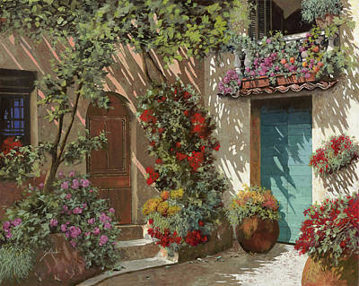 Vintage Stamps - Fiori In Cortile by Guido Borelli