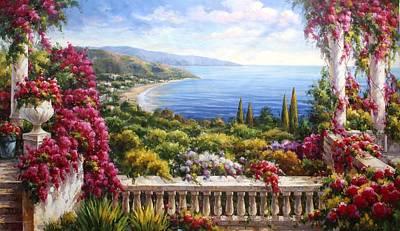 Lago Di Como Painting - Fiori Sul Lago Di Como by Lucio Campana