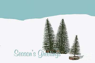 Fir Trees In The Snow Christmas Card Art Print by Wolf Kettler
