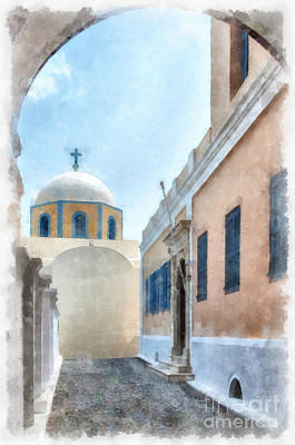 Baptist Painting - Fira Catholic Cathedral Digital Watercolor Painting by Antony McAulay