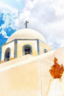 Christian Artwork Digital Art - Fira Catholic Cathedral Digital Watercolour Painting by Antony McAulay