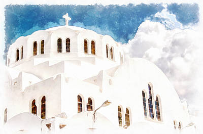 Orthodox Painting - Fira Orthodox Metropolitan Cathedral Digital Watercolor Painting by Antony McAulay