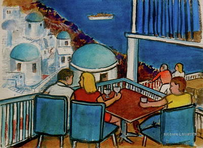Painting - Fira, Santorini Grecian Restaurant by Frank Hunter