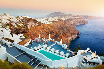 Windmill Photograph - Fira The Capital Of Santorini Island At Sunset by Michal Bednarek