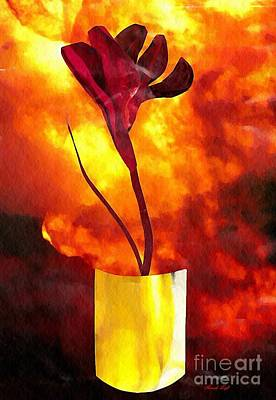 Lobby Mixed Media - Fire And Flower by Sarah Loft