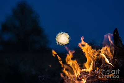 Photograph - Fire And Full Moon by Cheryl Baxter