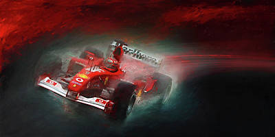 Michael Schumacher Mixed Media - Fire And Ice by Alan Greene
