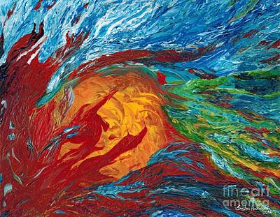 Metaphysical Painting - Fire And Ice Elementals - Impasto Abstract by Willow Perkinson