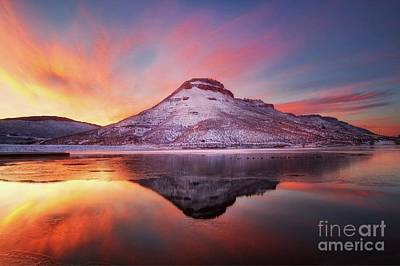 Fire And Ice - Flatiron Reservoir, Loveland Colorado Art Print by Ronda Kimbrow