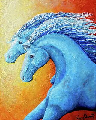 Horse Purse Painting - Fire And Ice by Nancy Quiaoit
