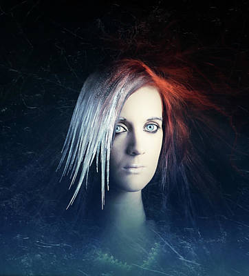Digital Face Photograph - Fire And Ice Portrait by Johan Swanepoel