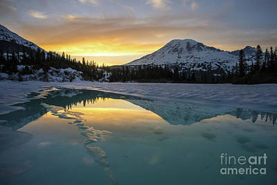 Photograph - Fire And Ice Rainier Winter Reflection by Mike Reid
