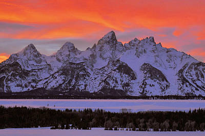 The Tetons Photograph - Fire And Ice by Stephen  Vecchiotti