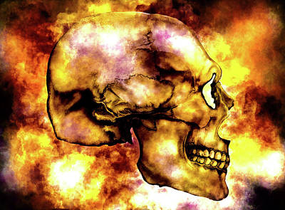 Mixed Media - Fire And Skull by Lisa Stanley