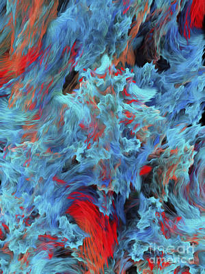 Andee Design Red Digital Art - Fire And Water Abstract by Andee Design