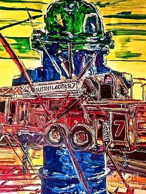 Fire Department Painting - Fire And Water by Paula Baker