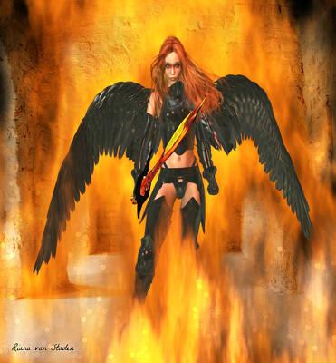 Digital Art - Fire Angel  by Riana Van Staden