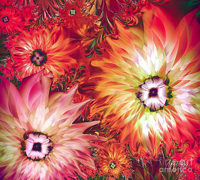 Fractal Painting - Fire Asters by Mindy Sommers