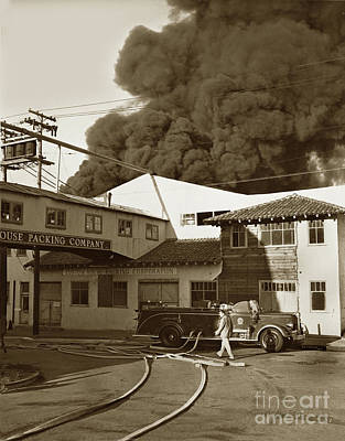 Photograph - Fire At Cannery Row, Custom House Packing Company Sea Beach Cannery 1953 by California Views Mr Pat Hathaway Archives