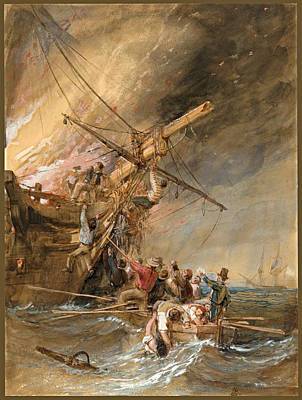 Drawing - Fire At Sea by Clarkson Frederick Stanfield