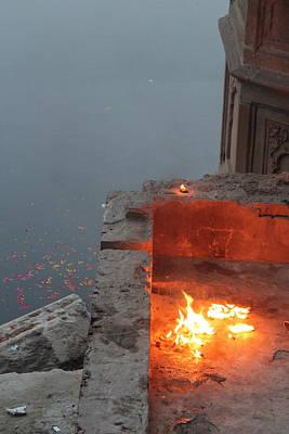 Diwali Photograph - Fire At The Yamuna, Vrindavan by Jennifer Mazzucco