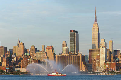 Photograph - Fire Boat And Manhattan Skyline II by Clarence Holmes