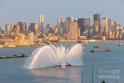 Fire Boat And Manhattan Skyline Iv Art Print by Clarence Holmes